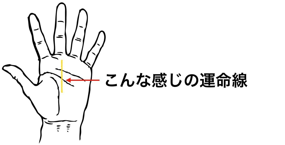 手のひらの中央を起点として中指の付け根に昇る運命線